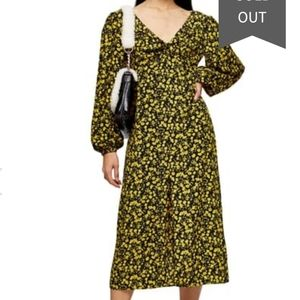 Topshop floral  godet twist front midi  dress
